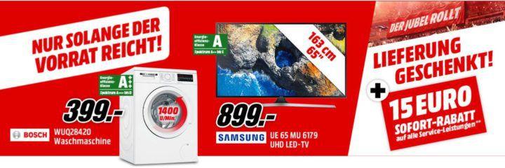TOP! Media Markt Jubel Rabatt mit vielen Deals   z.B. SHARP ES Waschmaschine für 268€ (statt 335€)