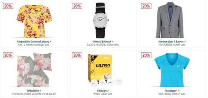 Galeria Kaufhof Sonntagsangebote   z.B. 20% auf Golfsportartikel, Schmuck, Uhren, Herrenanzüge uvam.