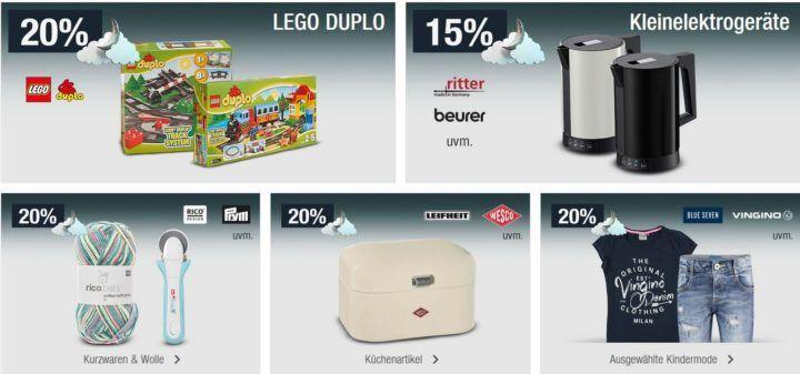 20 % Rabatt auf LEGO Duplo, viele Küchenartikel uvam.   Galeria Kaufhof Mondschein Angebote