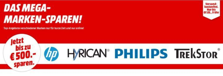 Media Markt Mega Marken Sparen: günstige Artikel von HP, Hyrican, Trekstor und Philips