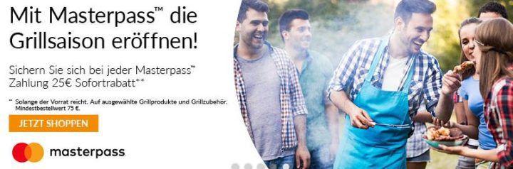 Alternate mit 25€ Sofortrabatt auf ausgewählte Grills mit Masterpass   z.B. Landmann Rexon PTS 3.0 für 189,85€ (statt 235€)