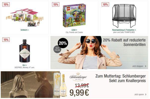 Galeria Kaufhof Muttertags Sonntagsangebote   z.B. 15% auf GIN & Lego o. 20% auf Uhren und Schmuck uvam.