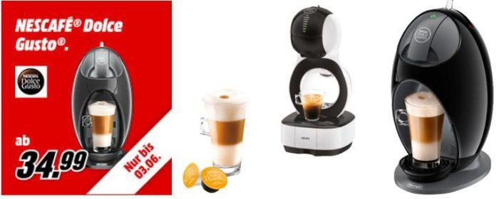 Media Markt: günstige Nescafe Dolce Gusto Maschinen    z.B. DELONGHI EDG 250 für 34,99€ (statt 44€)