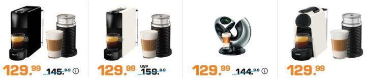 Saturn Late Night: günstige Nespresso Maschinen   z.B. NESPRESSO J520 für 399€ (statt 499€) + Kapsel Guthaben