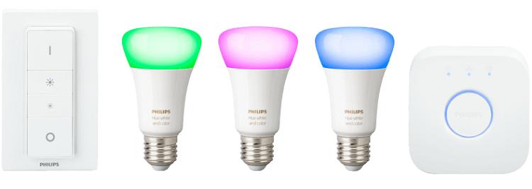 Philips Hue White and Color Ambiance Starterkit (3 x E27 Leuchten, Schalter & Bridge) für 119€ (statt 135€)