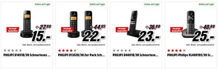 Media Markt Preishammer: top günstige Schnurlos Haustelefone von Philips ab 15€