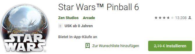 Star Wars Pinball 6 (Android/iOS) gratis statt 2,19€