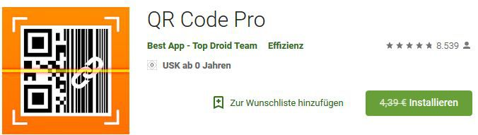 QR Code Pro (Android) gratis statt 4,39€