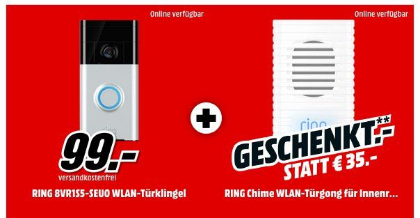 Ring 8VR1S5 Video Türklingel + Ring Chime WLAN Türgong für 99€(statt 130€)