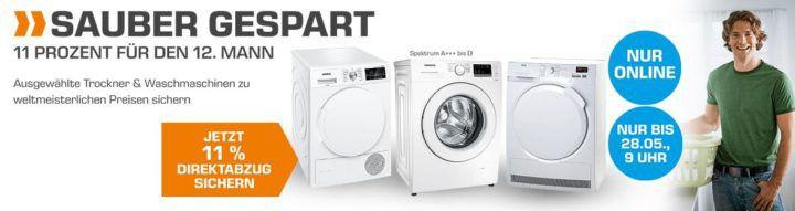 Saturn mit 11% Direktabzug auf ausgewählte Waschmaschinen und Trockner