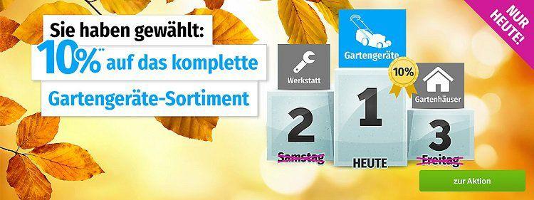 10% Rabatt auf alle Gartengeräte bei GartenXXL bis Mitternacht + VSK frei ab 20€
