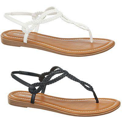 Graceland Damen Sandalen in Schwarz oder Weiß für je 14,90€