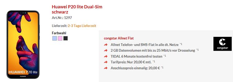 Huawei P20 lite für 4,95€ + Telekom (congstar) Allnet Flat mit 2GB für 20€ mtl.