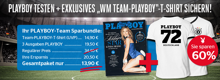Playboy Sparbundle: 3 Ausgaben + WM Team Playboy Shirt für 13,90€