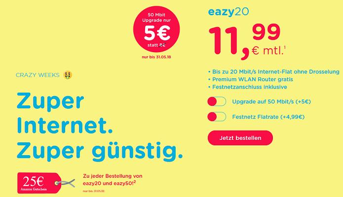 eazy Internet Zugang (Unitymedia) mit 20 Mbit/s für 11,99€ mtl.   oder 50 Mbit/s für 16,99€ mtl. +25€ Amazon Gutschein