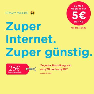 eazy Internet Zugang (Unitymedia) mit 20 Mbit/s für 11,99€ mtl.   oder 50 Mbit/s für 16,99€ mtl.