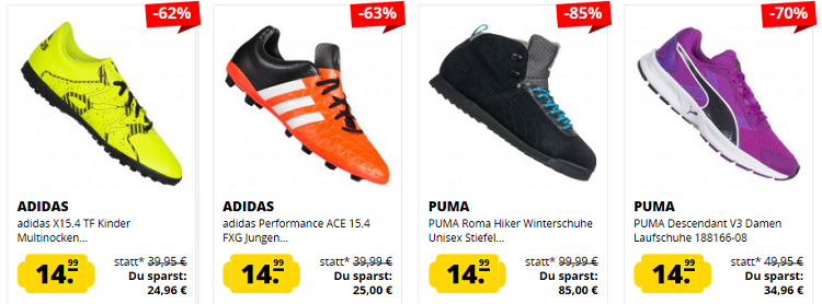 Schuh Wahnsinn: 14,99€ pro Sneaker und Fußballschuh bei SportSpar