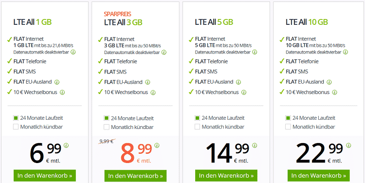winsim Tarife   z.B. winSIM Flat mit 3GB LTE + 10€ Wechselbonus für 8,99€ mtl.
