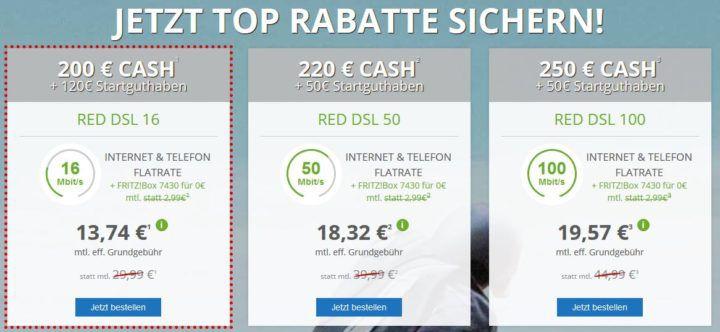 Vodafone Red Festnetz Telefonie + DSL bis 100 Mbit/s + FRITZ!Box ab 13,74€ mtl.