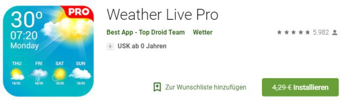 Weather Live Pro (Android) gratis statt 4,29€