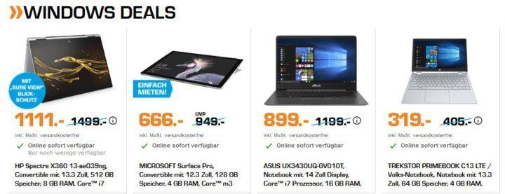 Saturn Windows Helden der Nacht: günstige Notebooks z.B. Microsoft Surface Pro Convertible für 666€