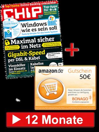 12 Ausgaben CHIP mit DVD für 69,60€ + 50€ Amazon Gutschein
