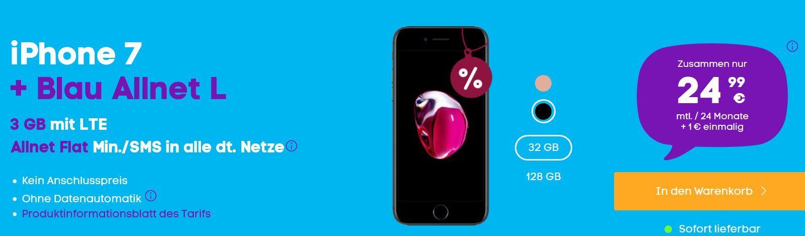 iPhone 7 für 1€ + o2 Allnet Flat mit 3GB LTE für 24,99€ mtl.