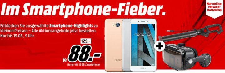 Media Markt Smartphone Fieber + 2 Gratis Artikel z.B. HONOR 6A 16 GB für 88€