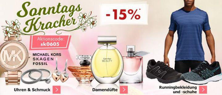 Karstadt Sonntags Kracher mit 15% Rabatt auf ausgewählte Uhren und Schmuck, Damendüfte, Runningartikel uvam.