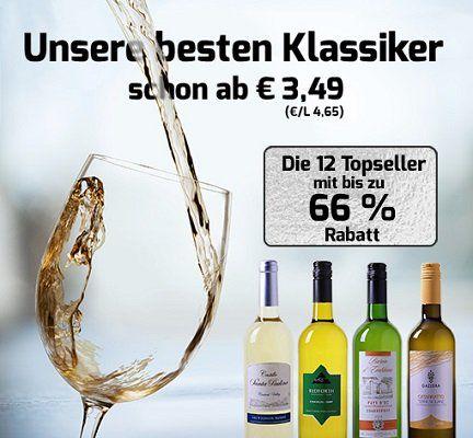 Wein Ausverkauf mit bis zu 66% Rabatt   Weine schon ab 3,49€ pro Flasche (6 Flaschen MBW)