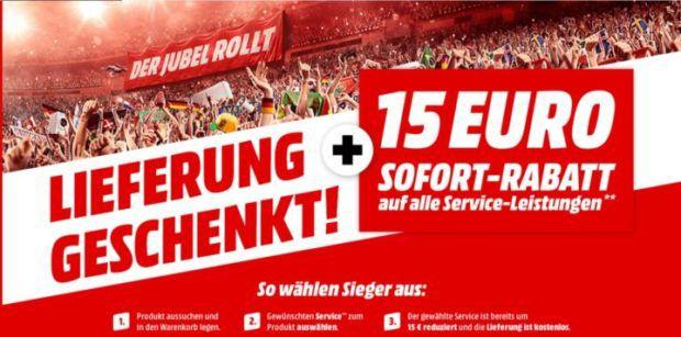 Media Markt VSK frei auf alle Online Artikel inkl. Großgeräte + 15€ Gutschein auf Service Leistungen