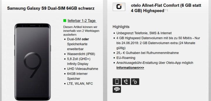 Samsung Galaxy S9 für 9,95€ + Otelo Allnet  & SMS Flat inkl. 6GB Daten für 29,99€ mtl.
