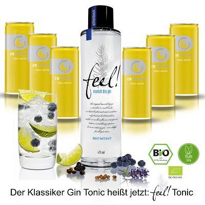 Feel! Munich Dry Gin (500ml, 47 Vol %) + 6 x 28 Drinks Tonic Water für 27,90€ inkl. 1,50€ Pfand (statt 42€)