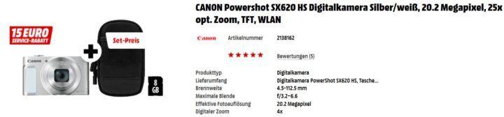 Media Markt Foto Late Night: z.B. CANON Powershot SX620 HS Digitalkamera + Zubehör für 144€ (statt 213€)