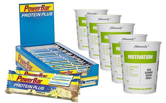 30er Pack Protein Plus Riegel (Vanilla) + Fitmeals Low Carb Protein Müsli (5x90g) für nur 16,69€ (statt 42€)