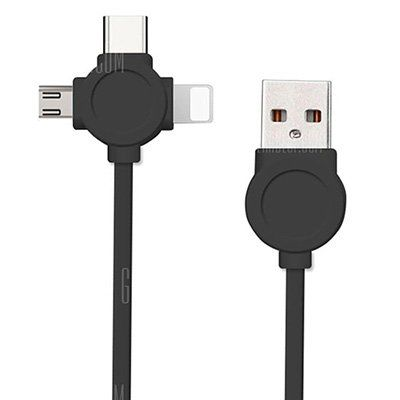 3in1 Kabel   Type C, Micro USB & 8 Pin USB für 1,71€