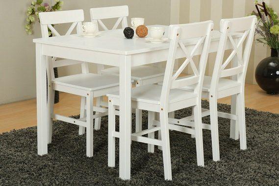 5 teilige Kiefer Landhaus Essgruppe in weiß für nur 89€