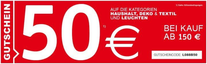 XXXLUTZ mit 50€ Rabatt auf Haushalt, Licht, Deko und Textilien ab 150€
