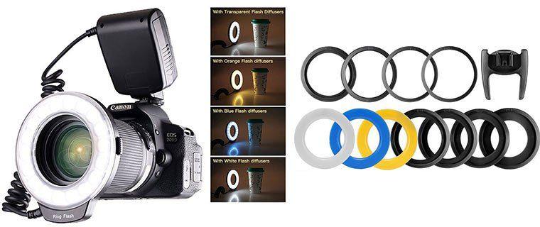 Ringblitz RF 550D mit 48 LEDs für DSLRs z.B. inkl. Adapterringe für 16,24€ (statt 25€)