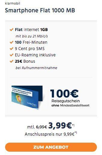 TOP! Vodafone Tarif mit 100 Minuten + 1GB nur 3,99€ mtl. + 100€ Reisegutschein oder mit Allnet Flat + 3GB für 9,99€ mtl.