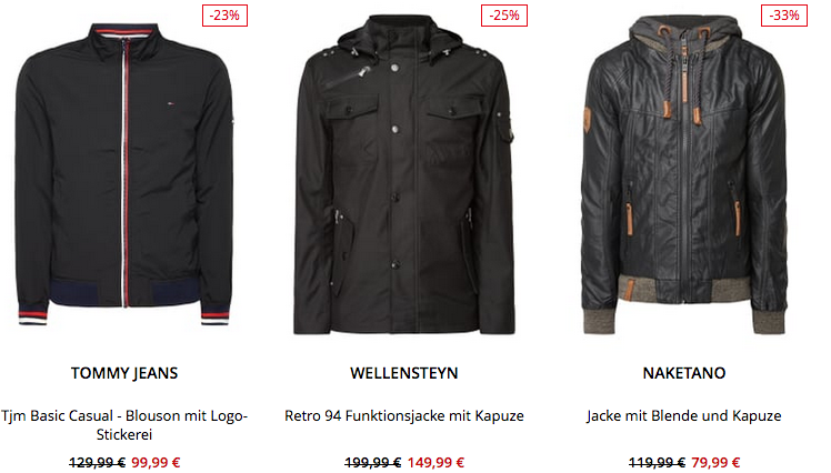 Top! Peek & Cloppenburg* bis 30% Rabatt auf Marken Jacken