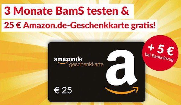 3 Monate BILD am Sonntag ab 22,30€ + 25€ Amazon Gutschein