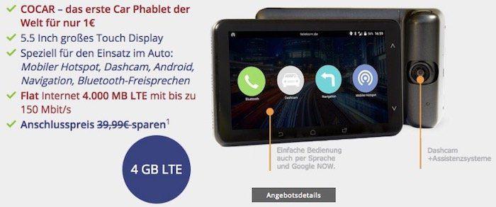 Telekom 4GB LTE Datentarif für 9,99€ mtl. + Cocar Navigations Phablet mit Hotsport Funktion für 1€ (Wert 130€)