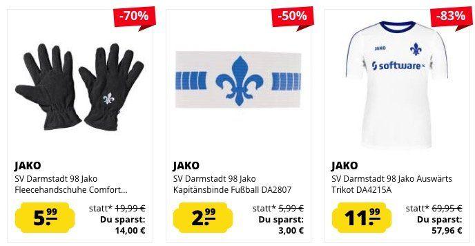 Darmstadt 98 Sale bei SportSpar   z.B. Trikot für 11,99€ oder Bommelmütze für 3,99€
