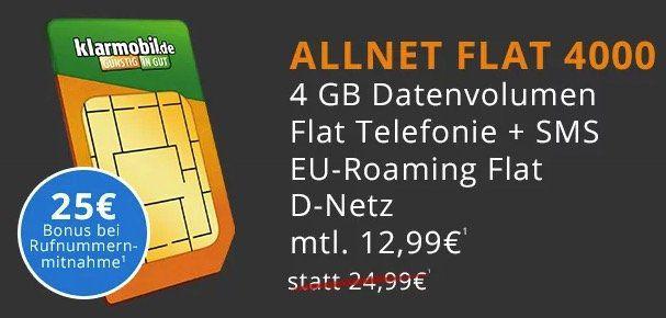 Vodafone Allnet Flat mit 4GB für 12,99€ mtl. + Weber Smokey Joe Holzkohlegrill für einmalig 4,95€