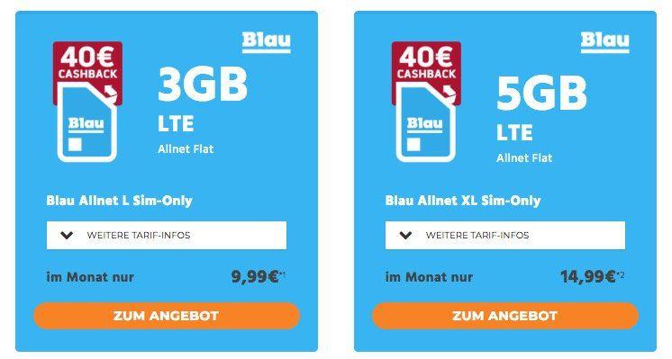 Blau Allnet Flat im o2 Netz mit 3GB LTE für 9,99€mtl. + 40€ Cashback