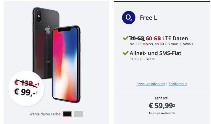 Volumen Knaller! iPhone X für 99€ + o2 Allnet Flat mit 60GB LTE (!) für 59,99€ mtl.