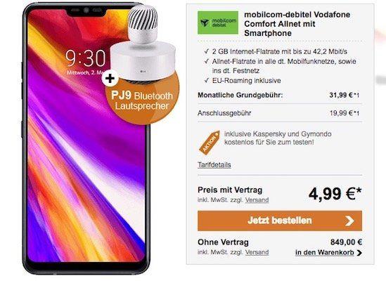 LG G7 ThinQ für 4,99€ + Vodafone Flat mit 2GB für 31,99€ mtl. + gratis LG PJ9 Lautsprecher (Wert: 185€)