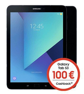 Samsung Galaxy Tab S3 LTE für 4,95€ + 100€ Cashback + o2 Data M Tarif mit 10GB LTE für 19,99€ mtl.