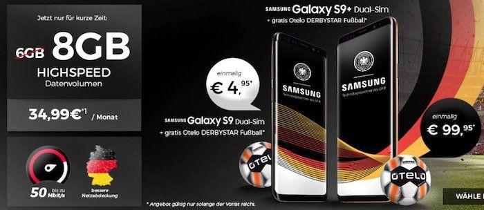 Samsung Galaxy S9 für 4,95€ + otelo Allnet Flat im Vodafone Netz mit 8GB *Highspeed* für 34,99€ mtl. + gratis Fußball